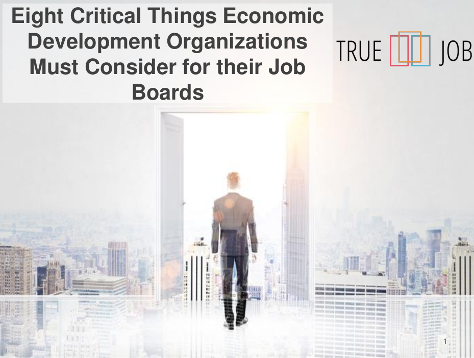 Picture of the first page of our full guide on eight critical things Economic Development Organizations need for success with a job board