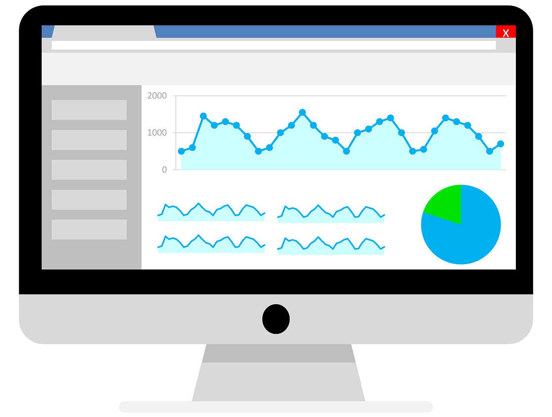 Stylized photo of computer with a website open with analytics on it