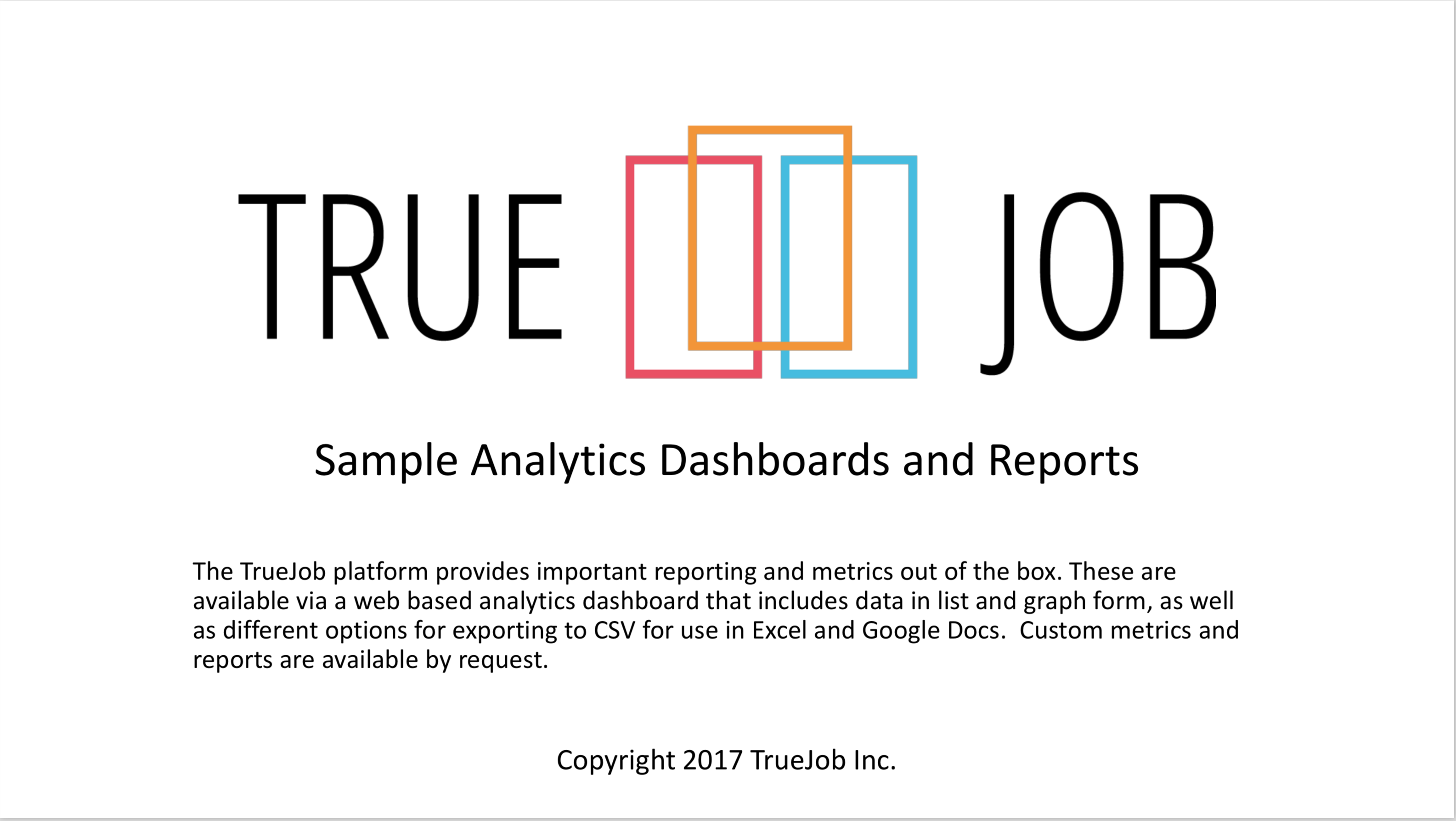 Picture of the first page of our report book for Economic Development Organizations on what analytics they can track using TrueJob